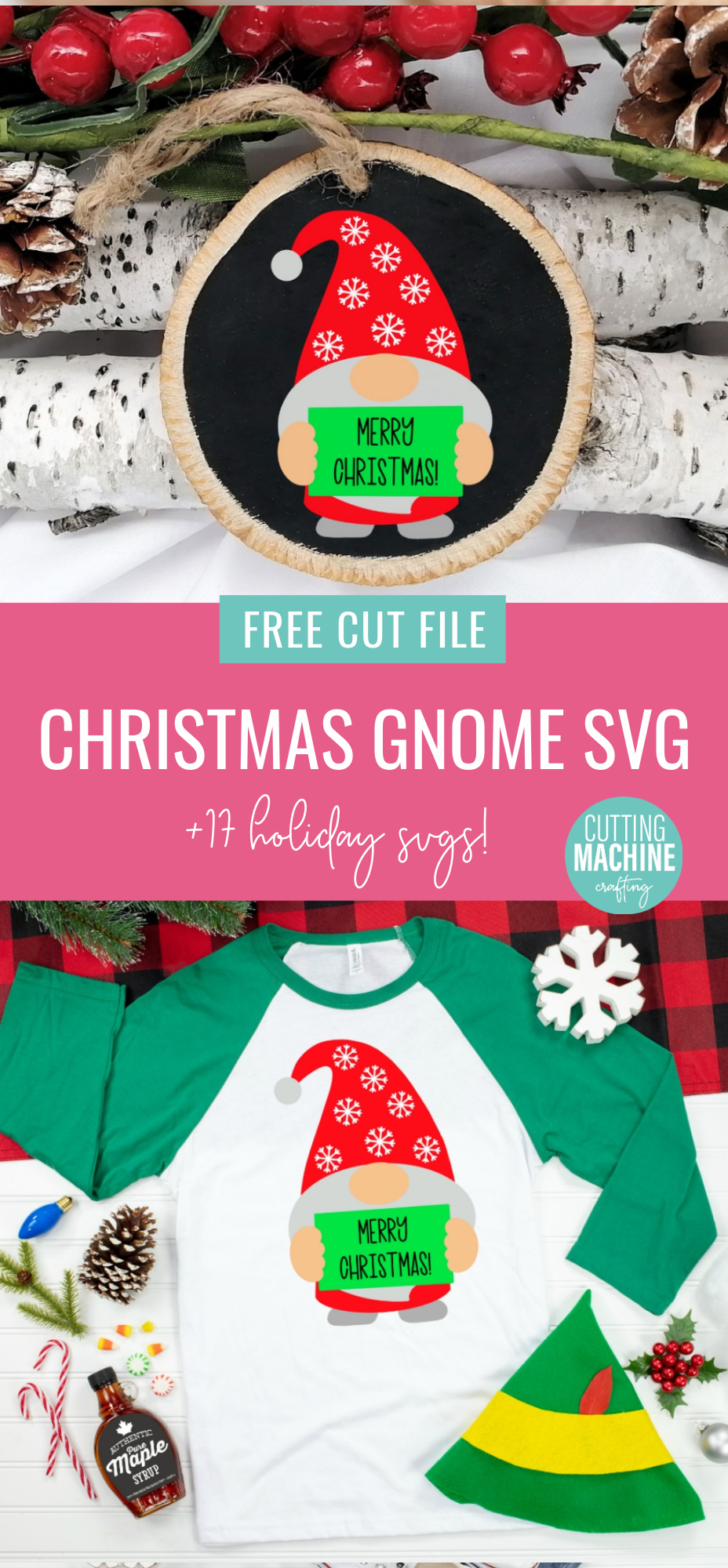 Download a free Christmas Gnome SVG File along with 17 free Christmas Ornament Cut Files! Use for Christmas crafting with your Cricut Maker, Cricut Explore Air, Cricut Joy or Silhouette Cameo to make handmade gifts for Christmas or DIY Ornaments to trim your Christmas tree! #ChristmasCrafting #ChristmasOrnaments #DIYOrnaments #DIYChristmas #ChristmasGnome #Gnome #SVGFiles #CutFilles #FreeSVG #CricutChristmas #CricutMade #CricutCreated