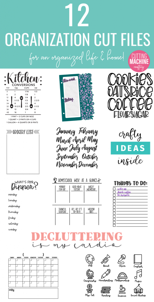 Get organized by making a DIY Dry Erase To Do List with our free To Do List SVG File! Includes 12 awesome organization cut files from some of your favorite craft bloggers that you can use with your Cricut or Silhouette! Perfect for organizing your home and your life! #Cricut #Silhouette #CuttingMachineCrafting #Organization #homeorganization #organizing #DryEraseBoard #DIY #Craft
