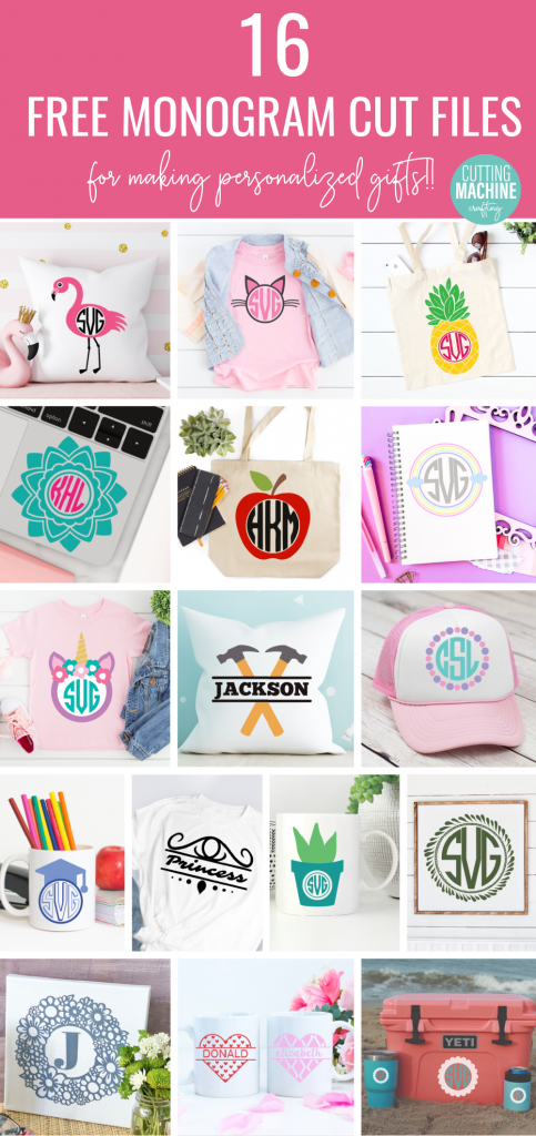 Download 15 free Monogram SVG Cut Files for making personalized party decor, shirts, mugs and more! Includes monograms that are fun for decorating kids rooms! Use with your Cricut or Silhouette cutting machine. #Monograms #Personalized #SVG #FreeCutFile #FreeSVG #CricutMade #CricutCreated #CuttingMachineCrafts
