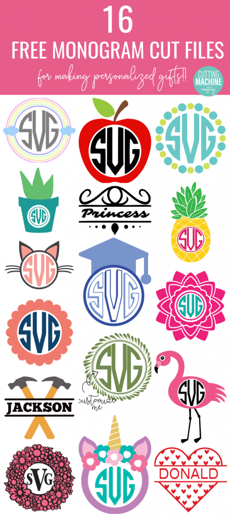 Download 16 free Monogram SVG Cut Files for making personalized party decor, shirts, mugs and more! Includes monograms that are fun for decorating kids rooms! Use with your Cricut or Silhouette cutting machine. #Monograms #Personalized #SVG #FreeCutFile #FreeSVG #CricutMade #CricutCreated #CuttingMachineCrafts
