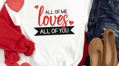Making Valentine Crafts with a cutting machine? Find 20 Valentine Cut Files including an All Of Me Loves All Of You SVG, perfect for making a DIY shirt for date night! #Valentine #Cricut #CutFiles #Heart #ValentineCrafts #CricutCrafts #FreeSVG #CutFiles #CricutCreated #CricutMade