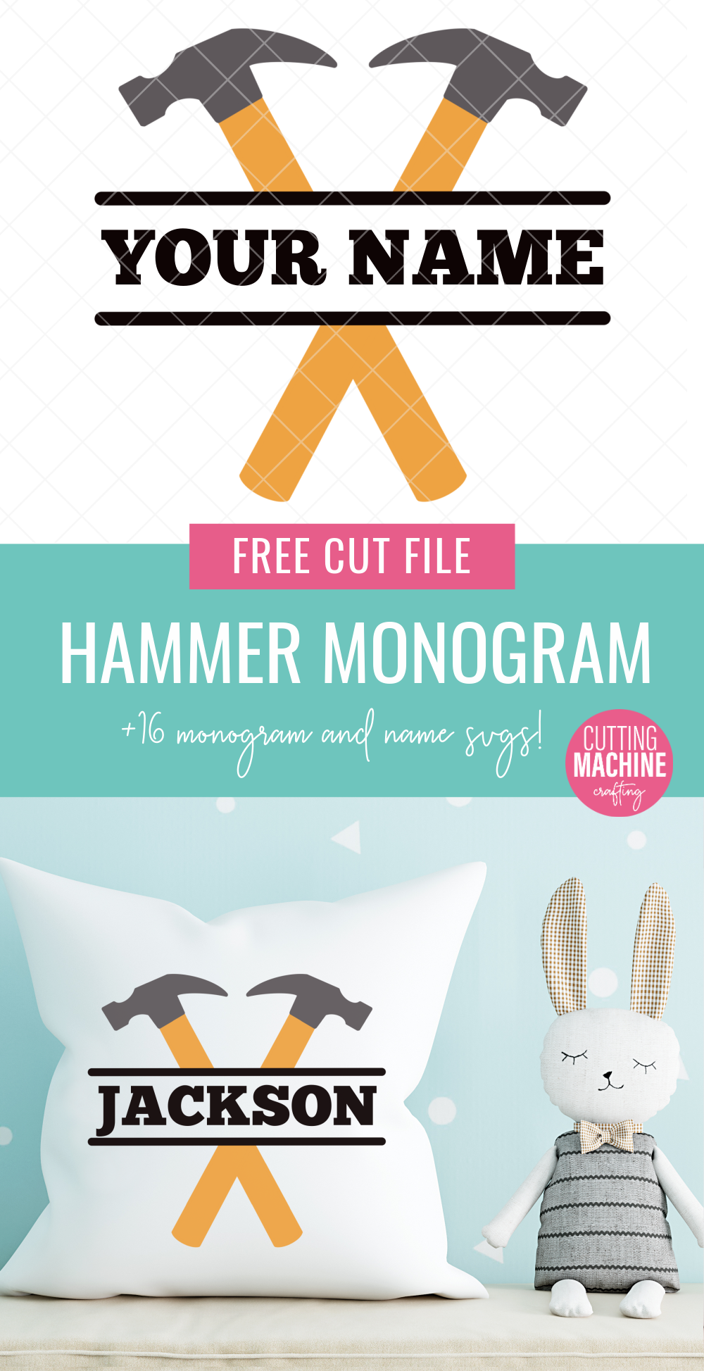 This free hammer monogram svg is ADORABLE! Perfect for making decorations for a tool themed birthday party, tool themed room decor, mugs, shirts and more! Grab this and 15 other free monogram and name cut files that you can customize for handmade gifts! Use with your Cricut or Silhouette! #monogram #hammer #tools #boysroom #personalized #handmadegifts #boysbirthday #FreeSVG #FreeCutFile #SVG #FreeSVG #CricutMade #CricutCreated #CuttingMachineCrafts
