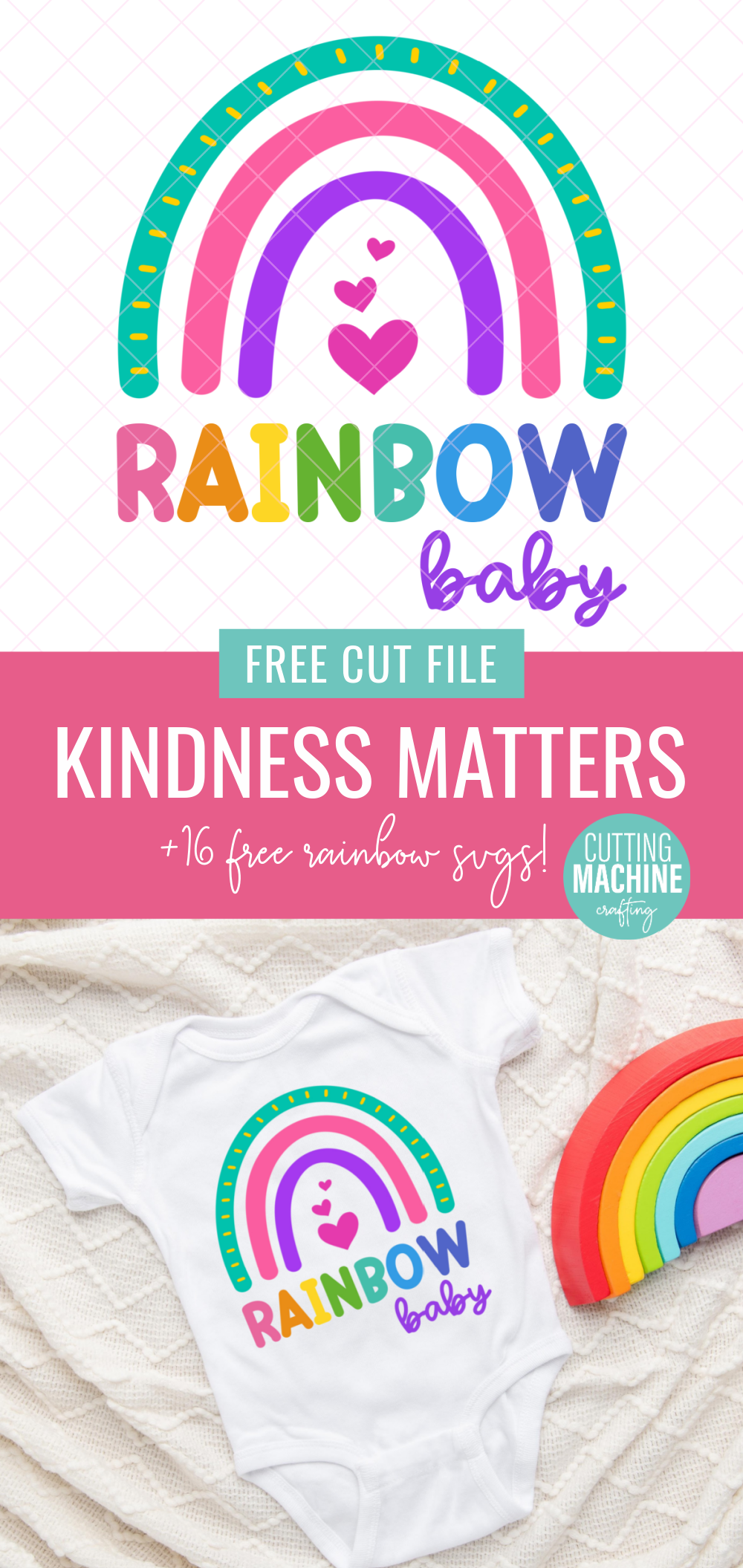 Celebrate pregnancy and childbirth after a loss with this beautiful Rainbow Baby SVG. Perfect for making DIY onesies with your Cricut or SIlhouette. Includes links to 16 free rainbow cut files. #rainbowbaby #miscarriage #infantloss #cricut #Silhouette #CricutMade #CricutCreated #DIY #CuttingMachineCrafting #onesie #DIYOnesie