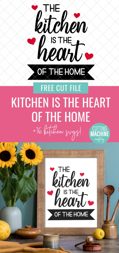 Make a gorgeous sign for your kitchen using your Cricut or Silhouette with this Kitchen Is The Heart Of The Home SVG file! We're also sharing 16 free kitchen cut files! Use them for making housewarming gifts and crafts for the kitchen. The possibilities are endless from DIY kitchen signs, to mixer decals, to handmade mugs, aprons and more!