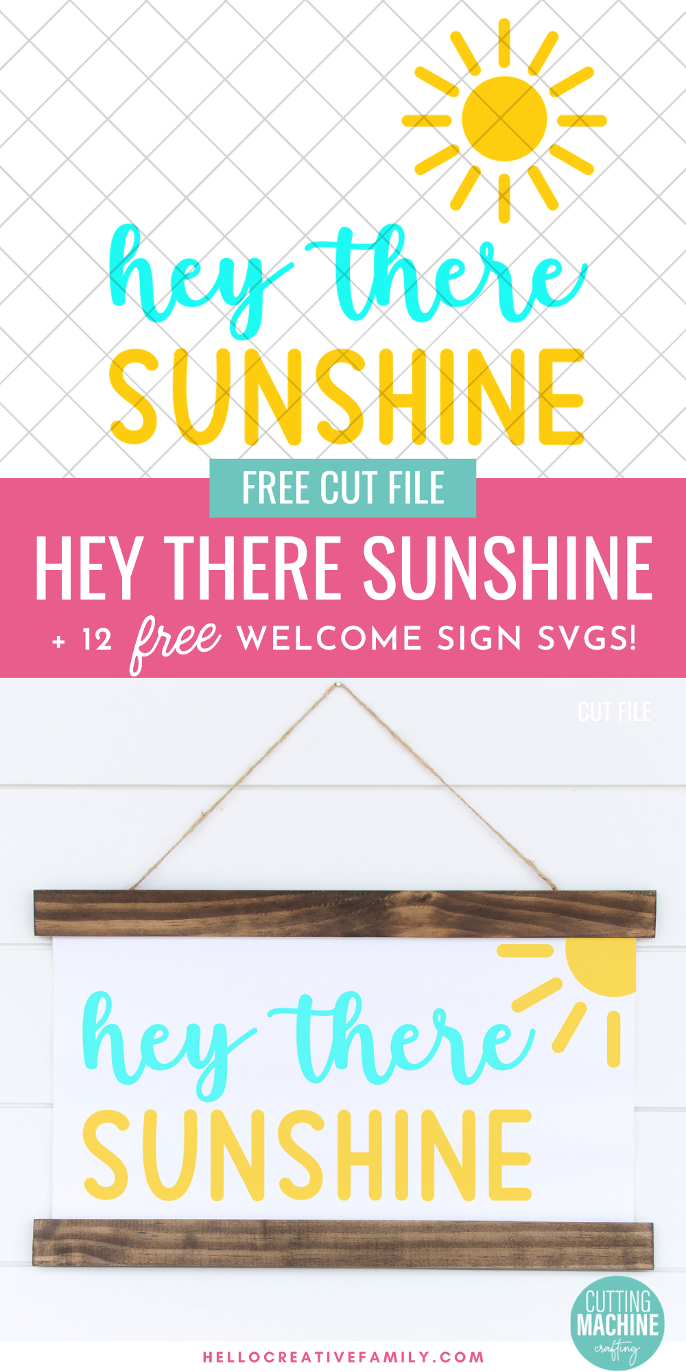 Spread a bit of crafty happiness with this free Hey There Sunshine Cut File! So cute for DIY signs and beach totes! Download all 12 free welcome sign svgs for crafting with your Cricut Maker, Cricut Explore Air 2, Cricut Joy or other cutting machine! Make great handmade housewarming gifts!