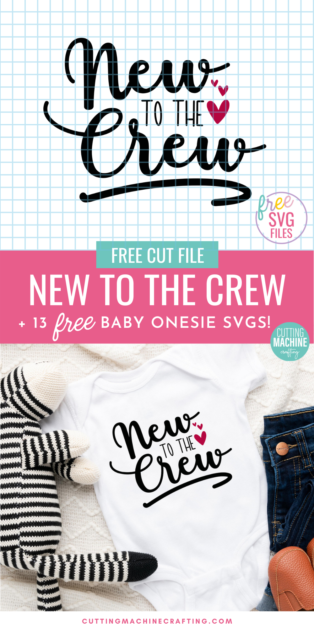Make a ton of adorable DIY baby onesies for baby showers and newborn gifts using these 13 free Baby SVGs! These designs are just too cute for words! Use your Cricut Maker, Cricut Explore Air 2, Cricut Joy, Silhouette Cameo or other electronic cutting machine to craft DIY baby gifts! Includes a New To The Crew SVG that's perfect for newborn photos!