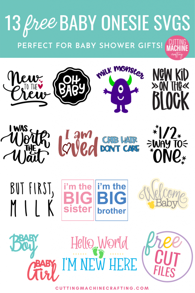 Make a ton of adorable DIY baby onesies for baby showers and newborn gifts using these 13 free Baby SVGs! These designs are just too cute for words! Use your Cricut Maker, Cricut Explore Air 2, Cricut Joy, Silhouette Cameo or other electronic cutting machine to craft DIY baby gifts! Includes a New To The Crew SVG that's perfect for family photos with a newborn!