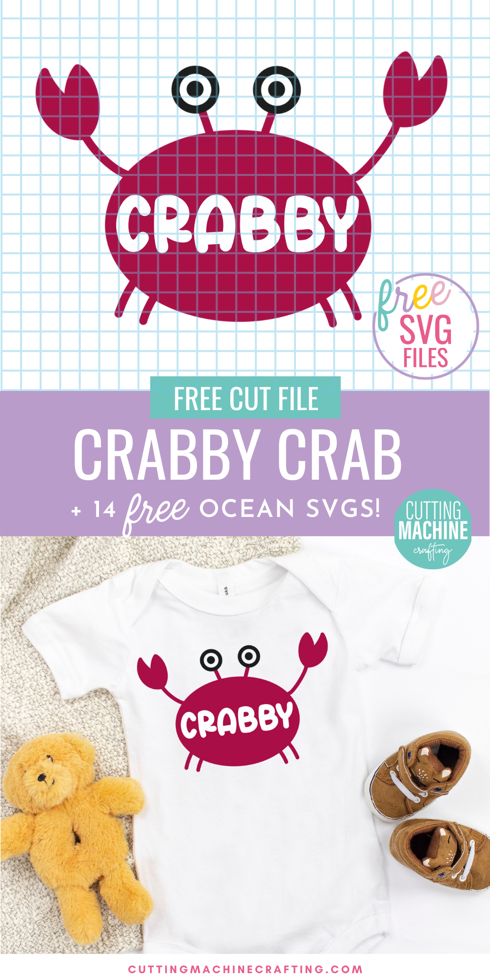 Get in the summer spirit with 14 free ocean SVGs from some of your favorite craft bloggers! Make shirts, tank tops, onesies, beach bags and more using your Cricut Maker, Cricut Explore Air 2, Cricut Joy or other electronic cutting machine. Includes an adorable Crabby Crab Cut File that looks so cute on DIY baby clothing!
