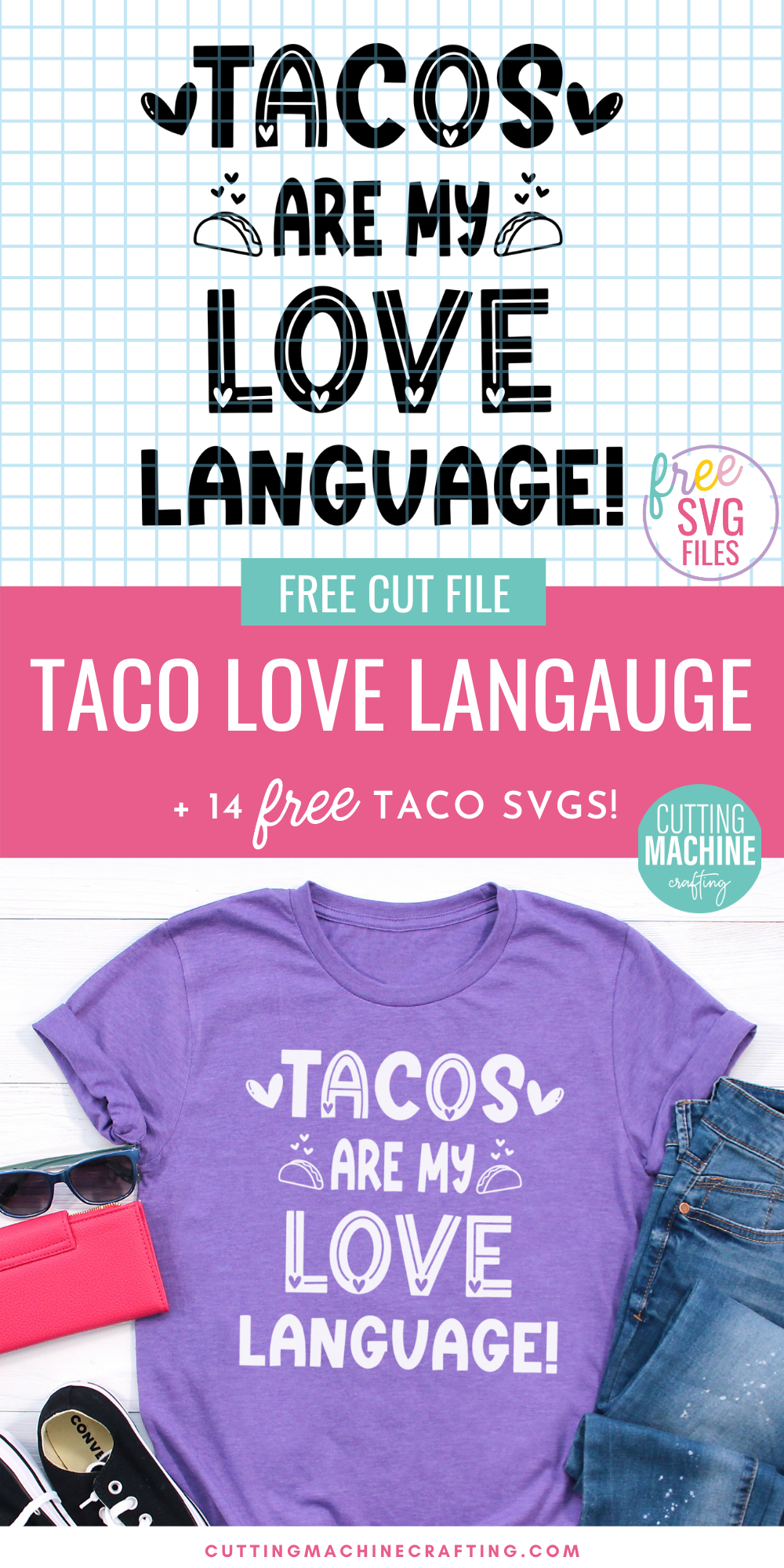 If you love tacos as much as I do, then you are going to want to grab these 14 free taco cut files including a Tacos Are My Love Language SVG! Make shirts, tank tops, mugs, beach bags and more using your Cricut Maker, Cricut Explore Air 2, Cricut Joy or other electronic cutting machine to express just how taco crazy you are!