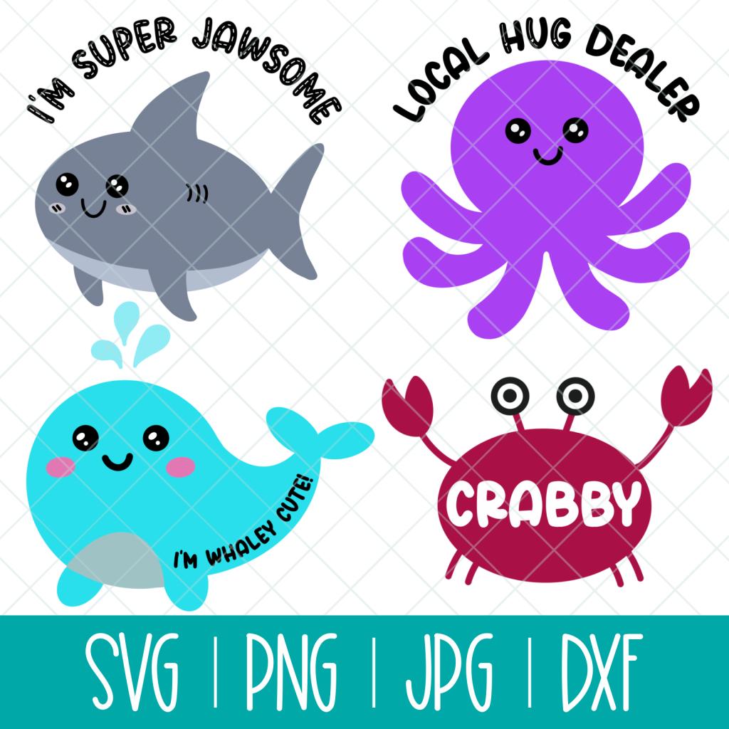 Cute Kawaii Ocean Animals Cut File SVG Bundle
