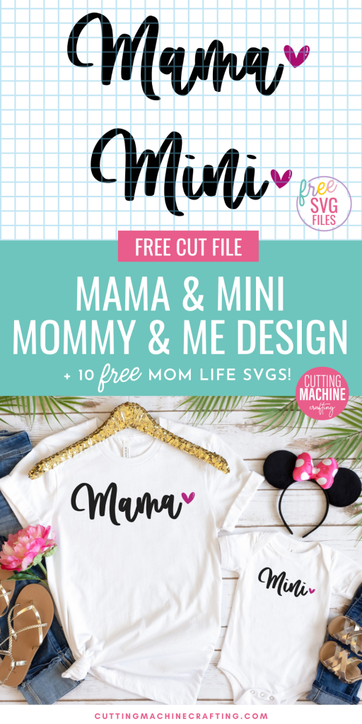 Make adorable DIY Mama and Mini shirts using these free Mommy and Me SVG Files. Perfect for new moms, Mother's Day, baby showers and more! Make onesies, tshirts, sweatshirts or hoodies for Mom and her little one using your Cricut Maker, Cricut Explore Air 2, Cricut Joy or other electronic cutting machine. Also includes links to 10 Mom Life Cut Files!
